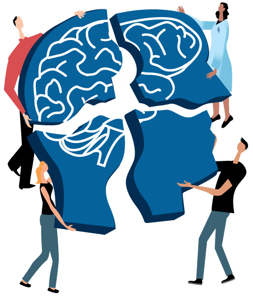 Illustration of brain being built by multiple people