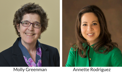 Headshots of Molly Greenman and Annette Rodriguez