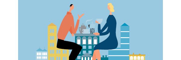 Illustration of two people having coffee