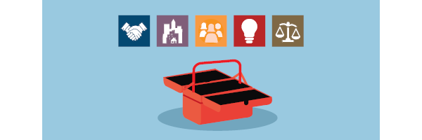 Illustration of toolbox and icons to represent the Commitments of High-Impact Nonprofit Organizations Partnering with Purpose, Co-Creating with Community, Innovating with Enterprise, and Advancing Equity